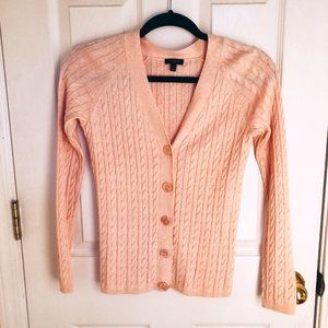 Talbots Light Pink Cable Knit Button Cardigan SP